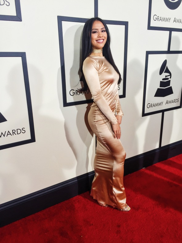Azia Celestino on the Grammys red carpet