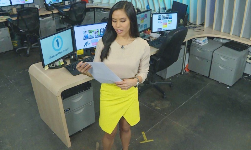 Azia Celestino rehearses the rundown for Channel One News